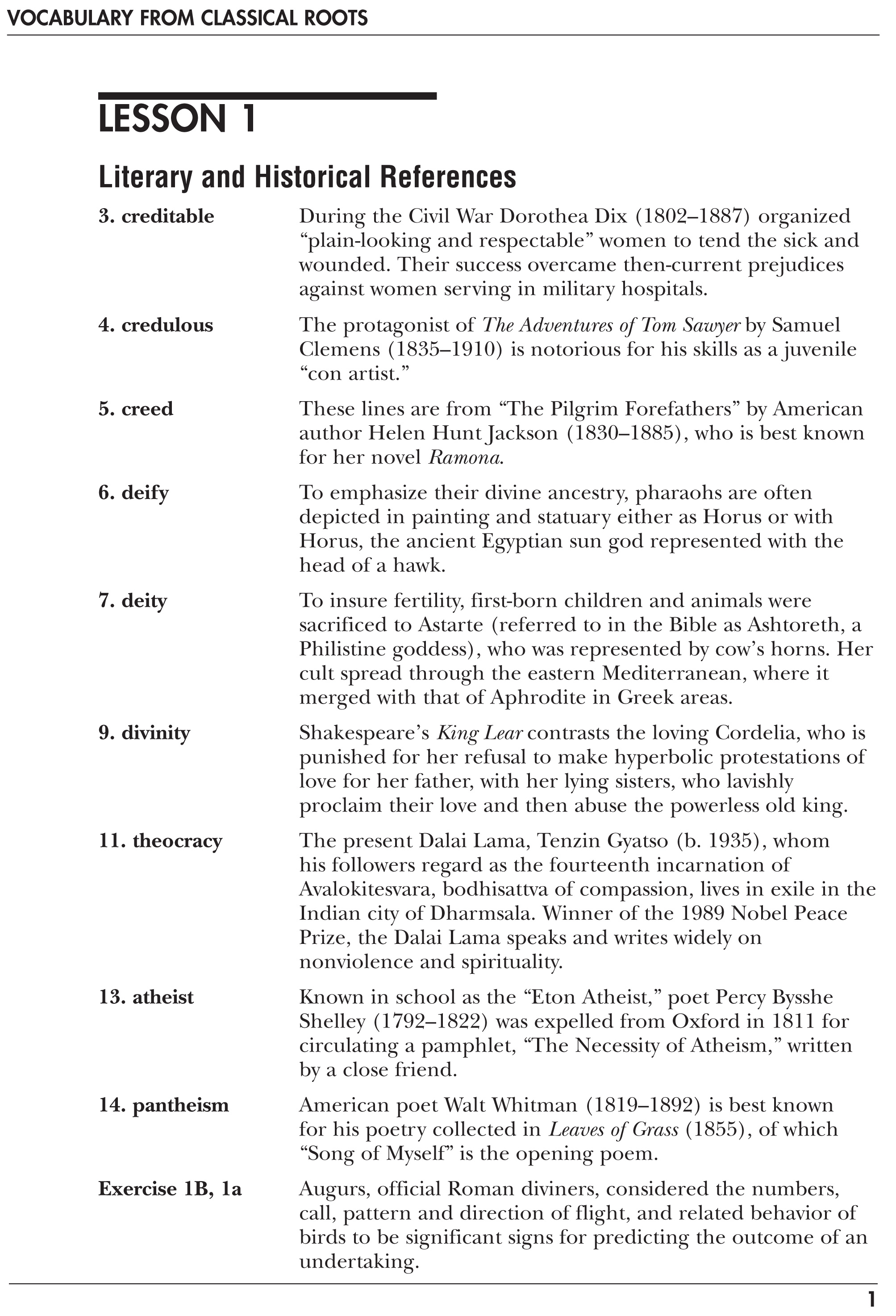Vocabulary from Classical Roots D - Teacher's Guide/Answer ...