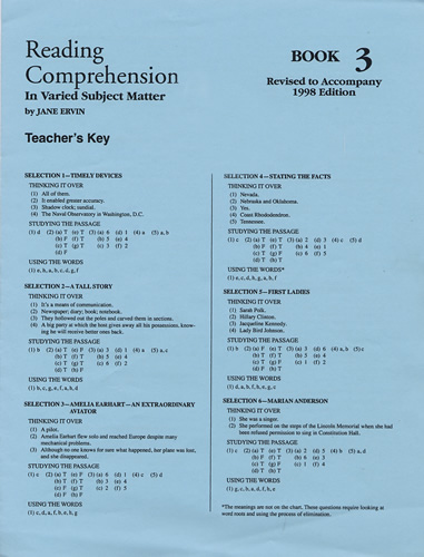 Reading Comprehension 3 - Answer Key | School Specialty | EPS