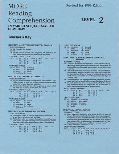 MORE Reading Comprehension 2 - Answer Key | School Specialty | EPS